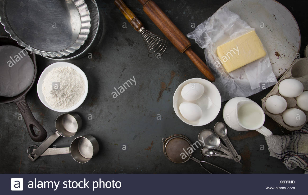 Ingredients for baking pie. With copy space. Long Horizontal for slider - Stock Image