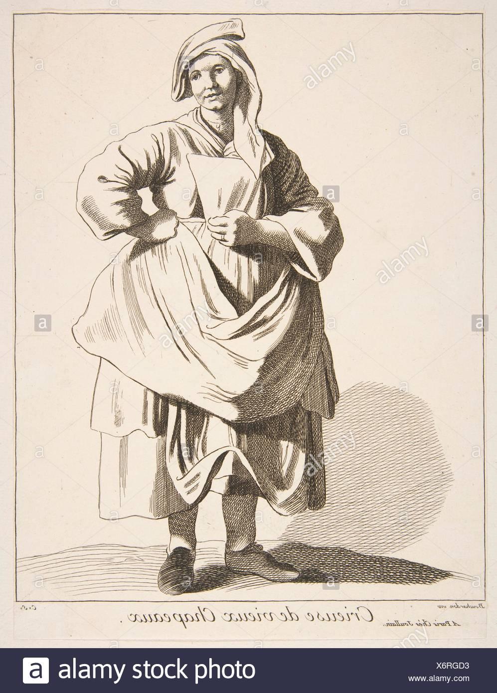Peddler of Old Hats. Series/Portfolio: Cries of Paris: Fourth Set; Artist: Anne Claude Philippe de Tubières, comte de Caylus (French, Paris 1692-1765 - Stock Image