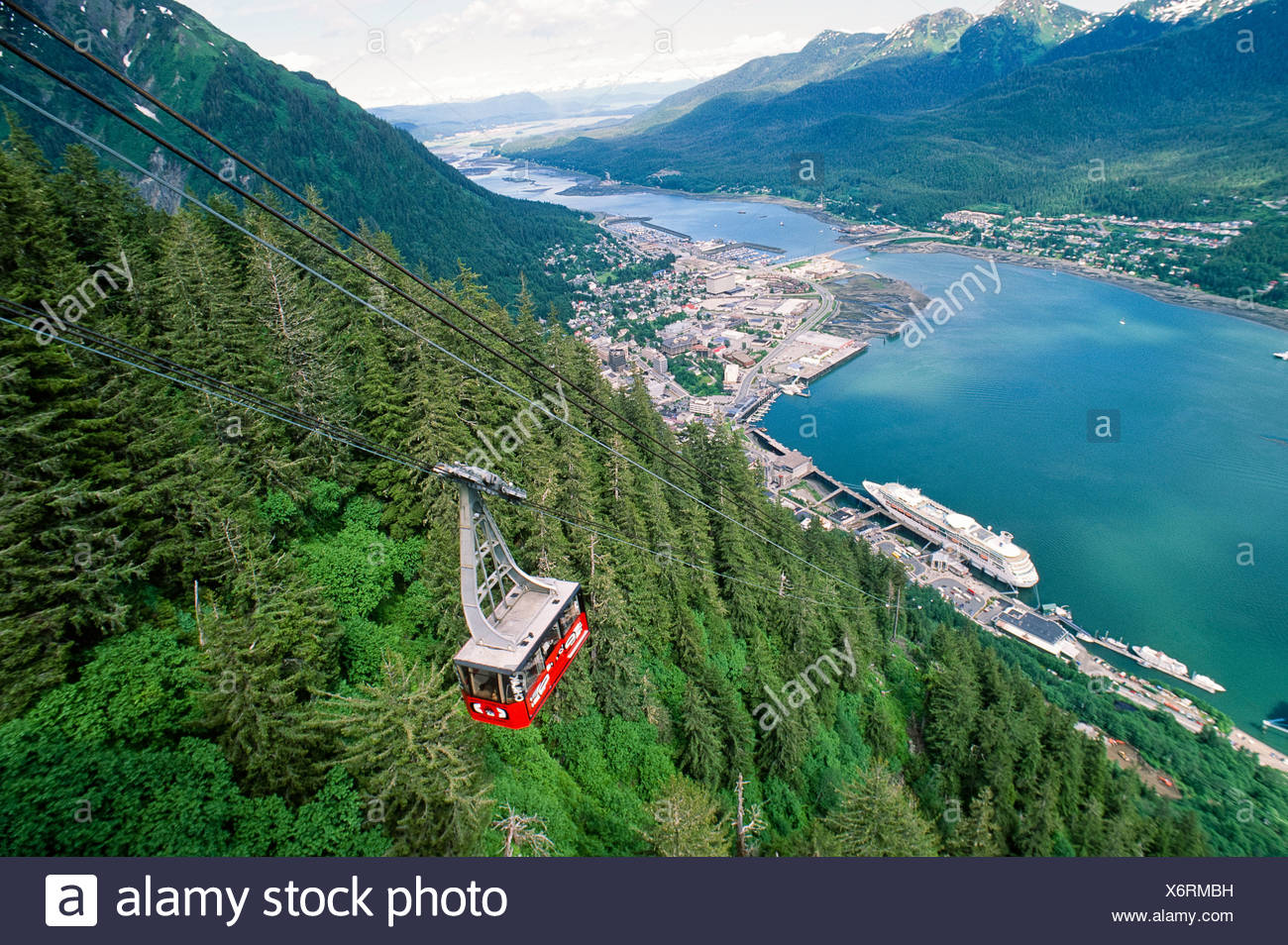 Alaska. Juneau. View of Gastineau Channel from Mt. Roberts tram. - Stock Image
