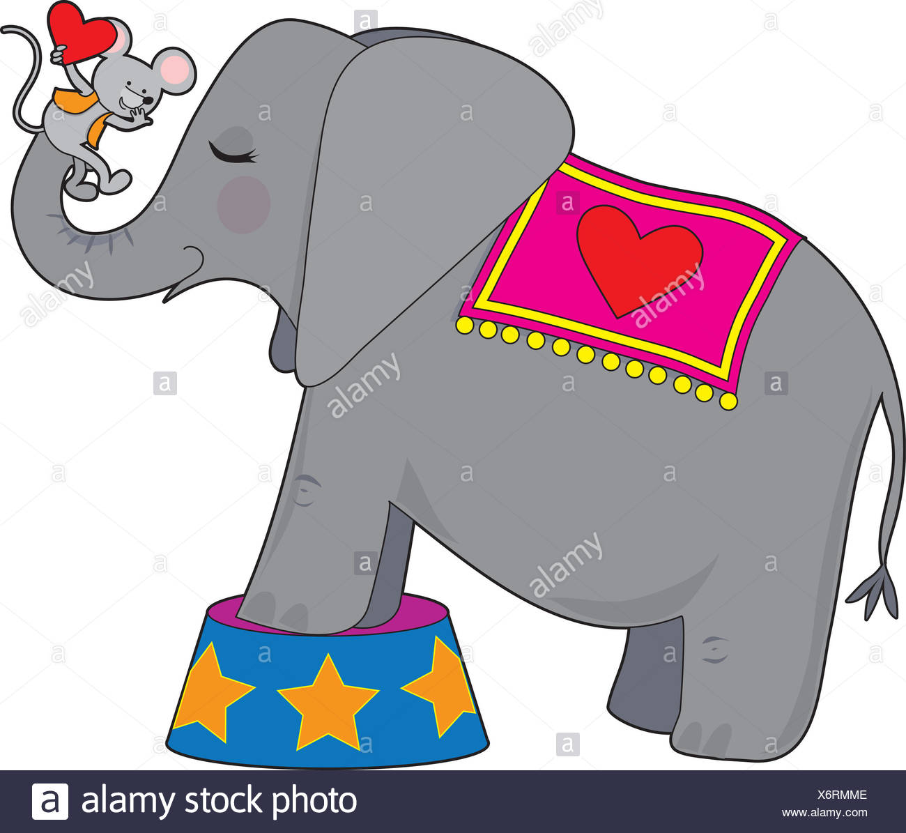 elephant, mouse, circus, hearts, stars, asterisks, valentine, trunk, big, - Stock Image