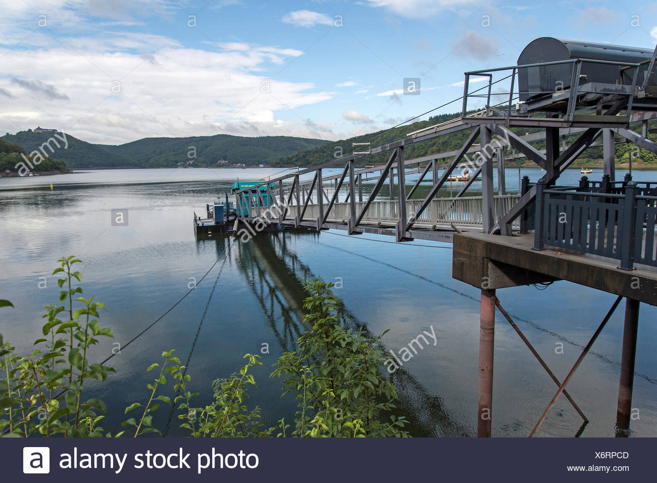 Jetty, pier, Edersee reservoir, Waldeck, Kellerwald National Park, North Hesse, Hesse - Stock Image