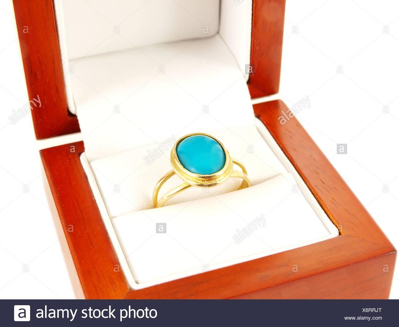 Blue gemstone ring - Stock Image