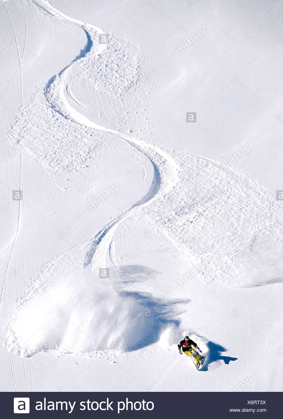 Aerial view of winding trail, snowboarding, Gary Chalmers, Flaine, France Stock Photo