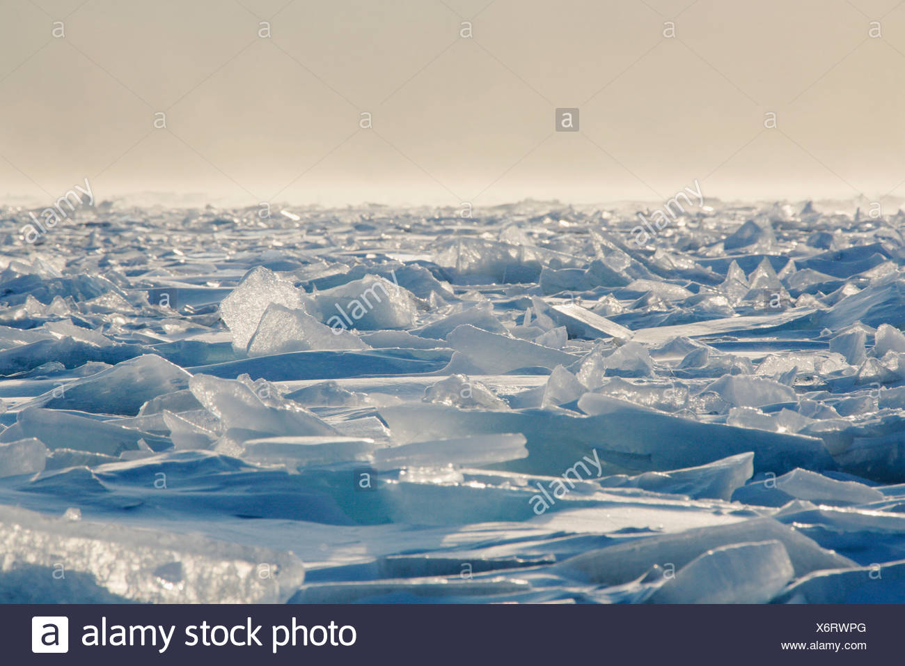 Minnesota, United States Of America; Ice Chards On The North Shores Of Lake Superior - Stock Image