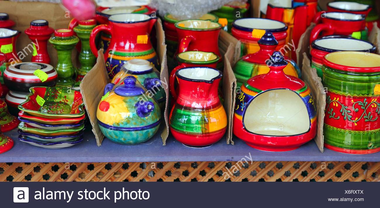 Colorful Ceramics Pottery Painted Vivid Color Clay Stock Photo Alamy