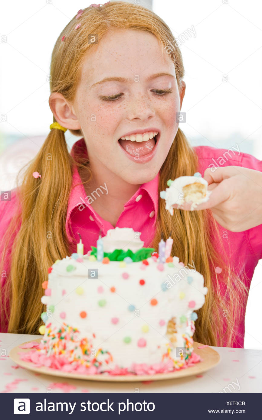 Magnificent Girl Eating Birthday Cake Stock Photo 279581019 Alamy Funny Birthday Cards Online Inifofree Goldxyz