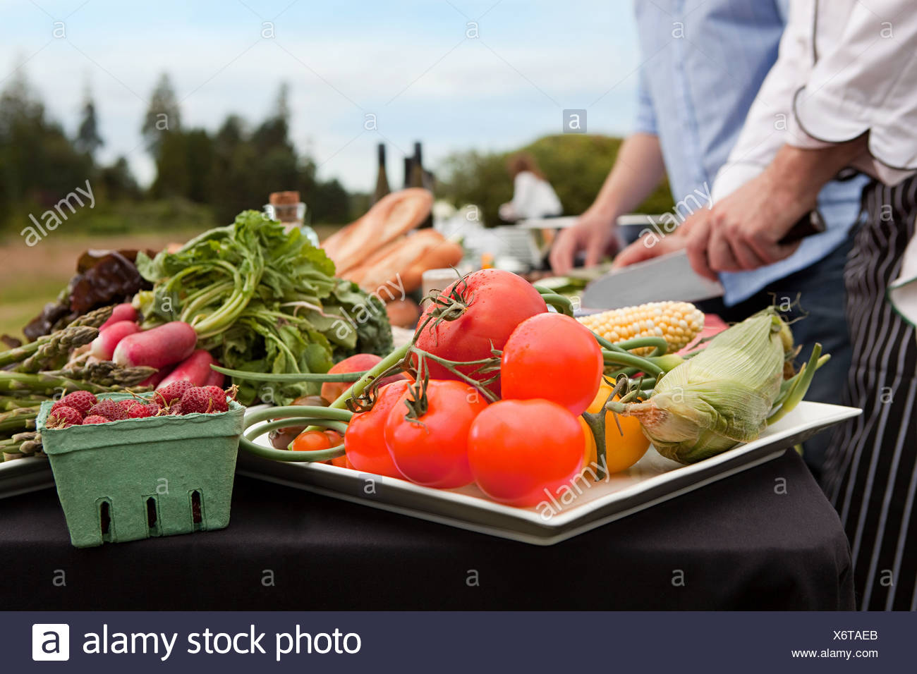 Fresh food being prepared outdoors Stock Photo