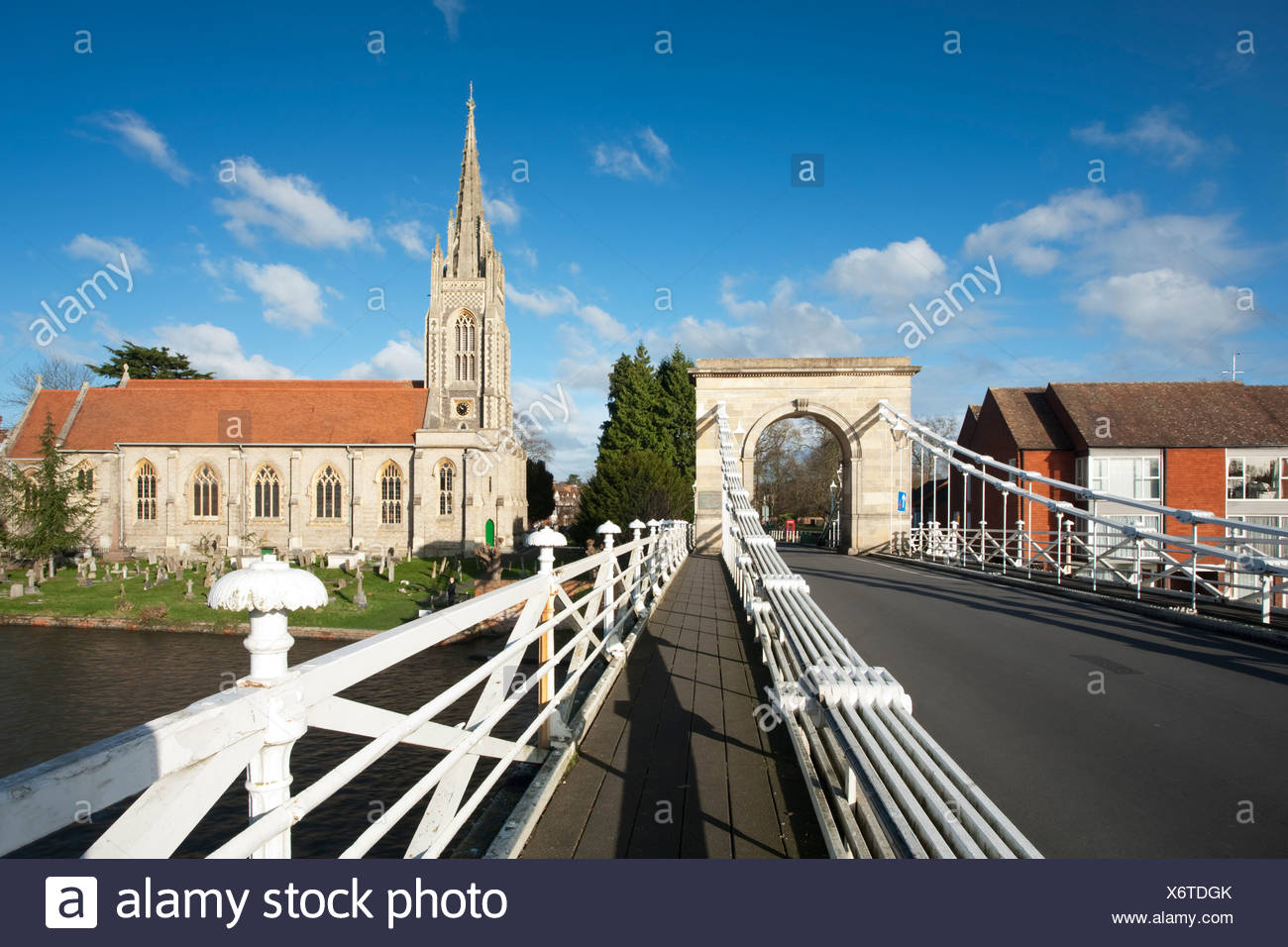 All Saints church and spire from Marlow road bridge, Buckinghamshire, Uk - Stock Image