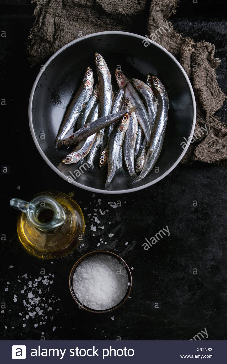 Lot of raw fresh anchovies fishes in black ceramic bowl with sea salt and bottle of olive oil for marinade over black metal background. Top view. Sea - Stock Image