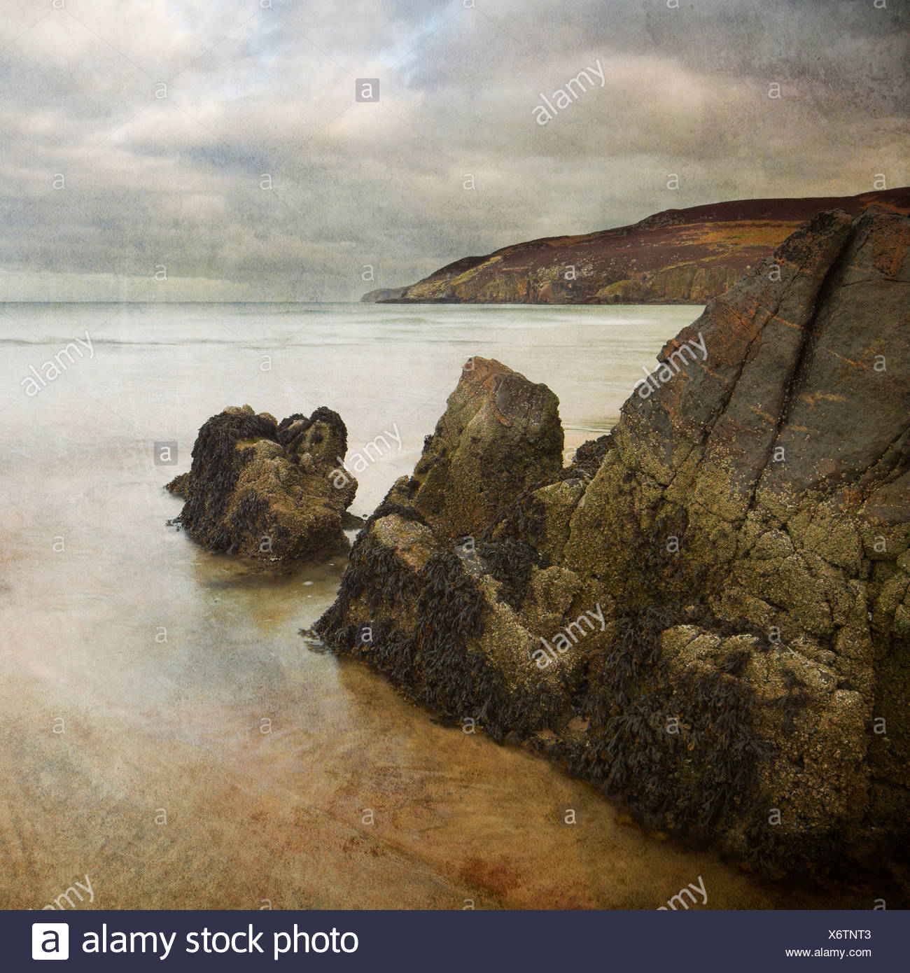 Hebrides rocks and beach with texture - Stock Image