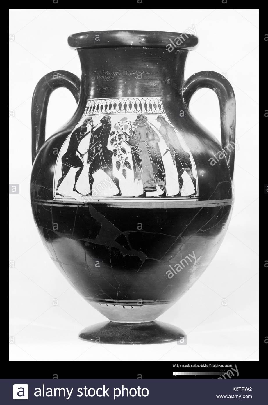 Terracotta amphora (jar). Attributed to the Affecter; Period: Archaic; Date: ca. 550-530 B.C; Culture: Greek, Attic; Medium: Terracotta; Stock Photo