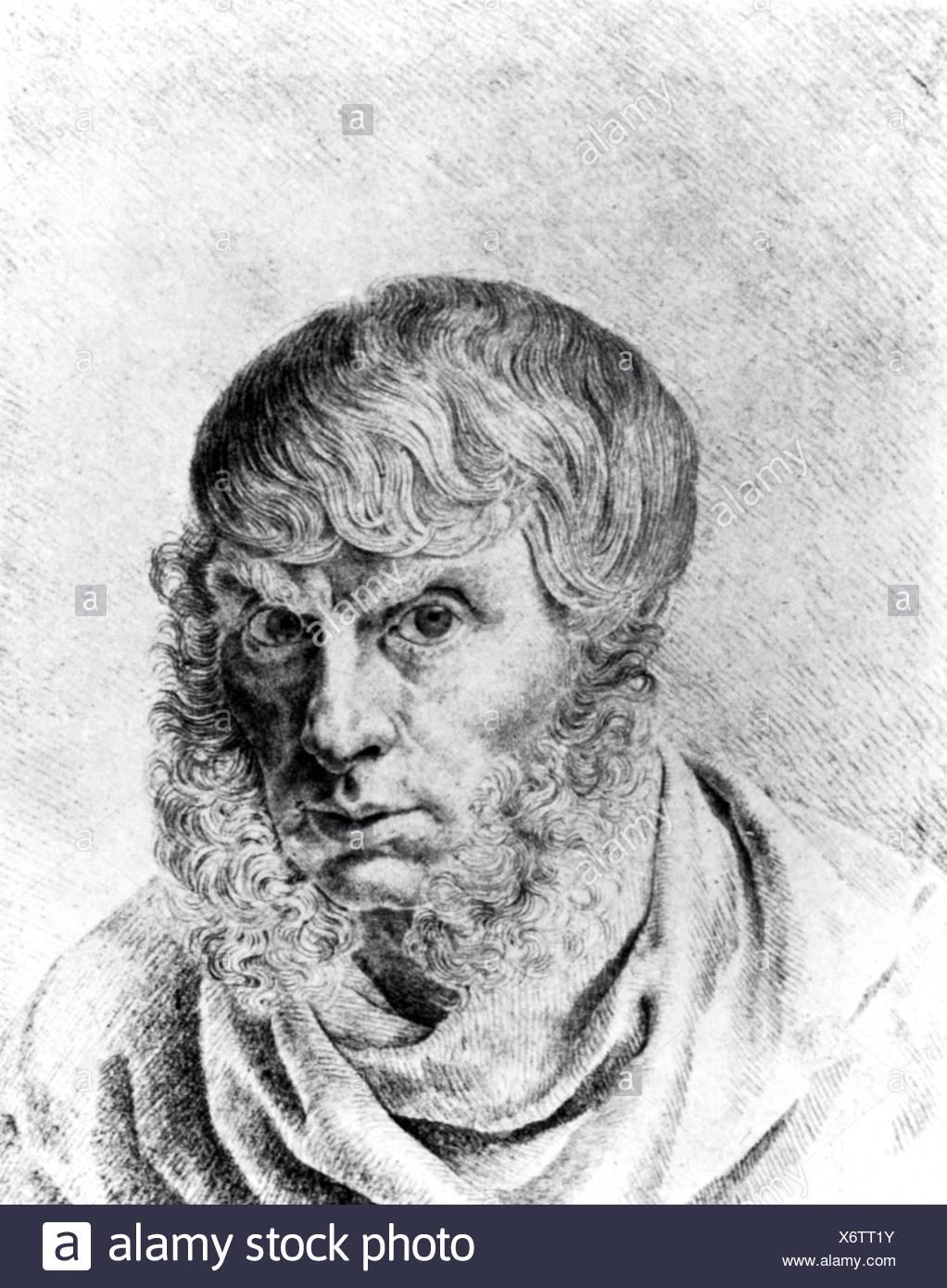 Friedrich, Caspar David, 5.9.1774 - 7.5.1840, German painter, self portrait, chalk drawing, 1810, , Artist's Copyright has not to be cleared - Stock Image