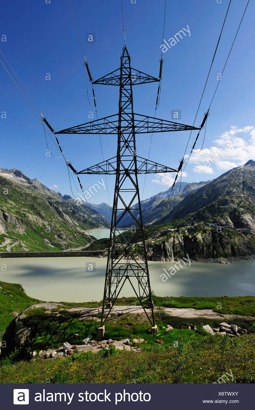Environmentally friendly energy from hydropower, Grimsel Pass, canton of Bern, Switzerland, Europe - Stock Image