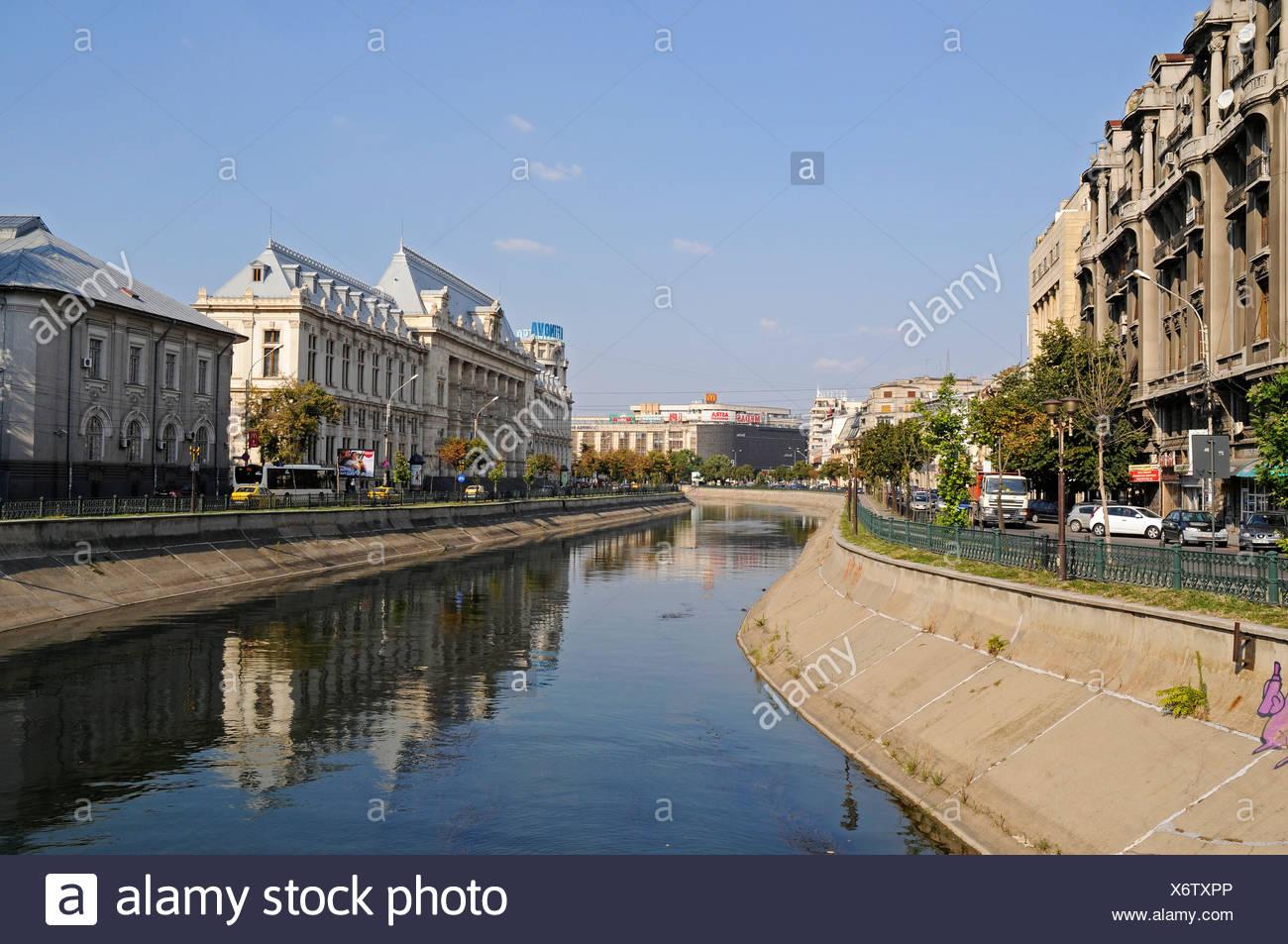 Dambovita River, Piata Natiunile Unite square, Bucharest, Romania, Eastern Europe, Europe, PublicGround - Stock Image