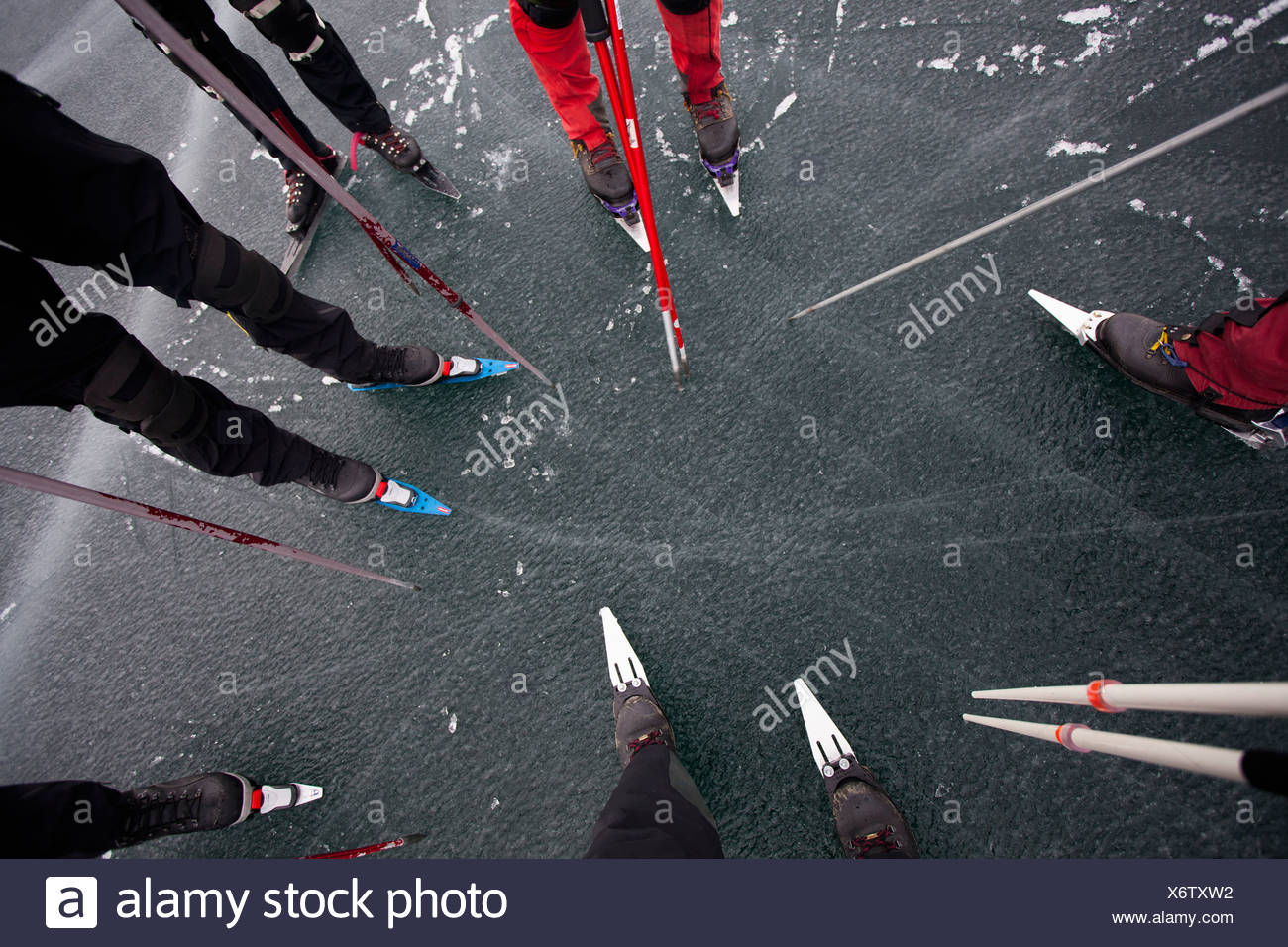 Group of Nordic skaters - Stock Image