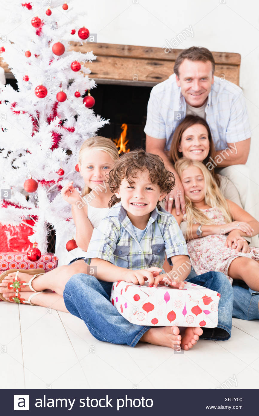 Family opening Christmas gifts Stock Photo