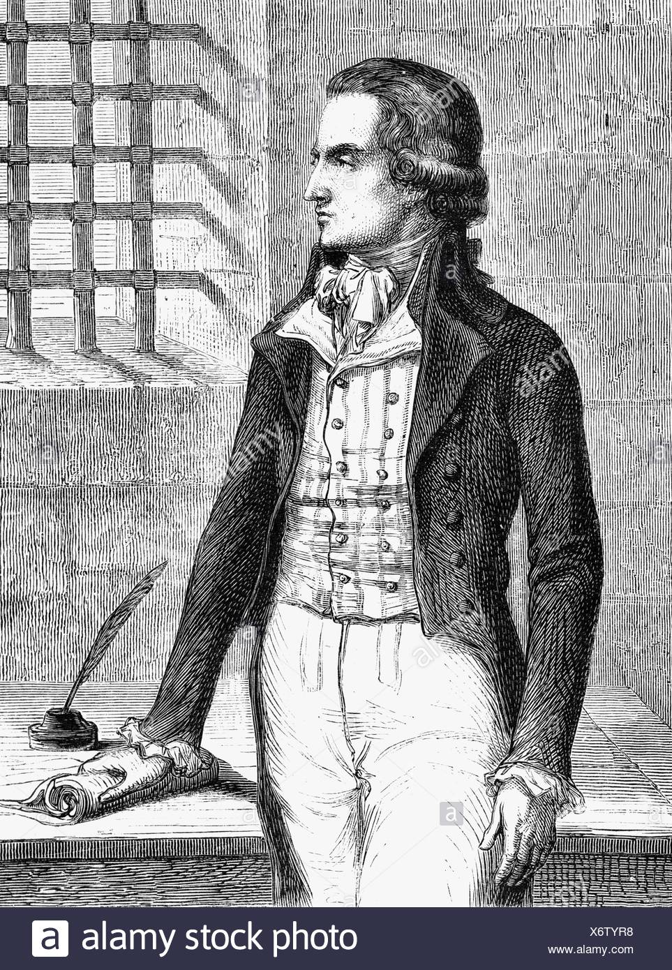 Chenier, Andre, 30.10.1762 - 25.7.1794, French author / writer, in prison 1793, wood engraving after Jean Clays, 19th century, , Additional-Rights-Clearances-NA - Stock Image