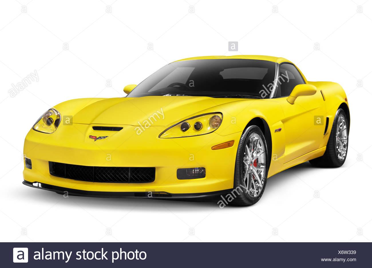 Yellow 2010 Chevrolet Corvette Z06 sports car - Stock Image
