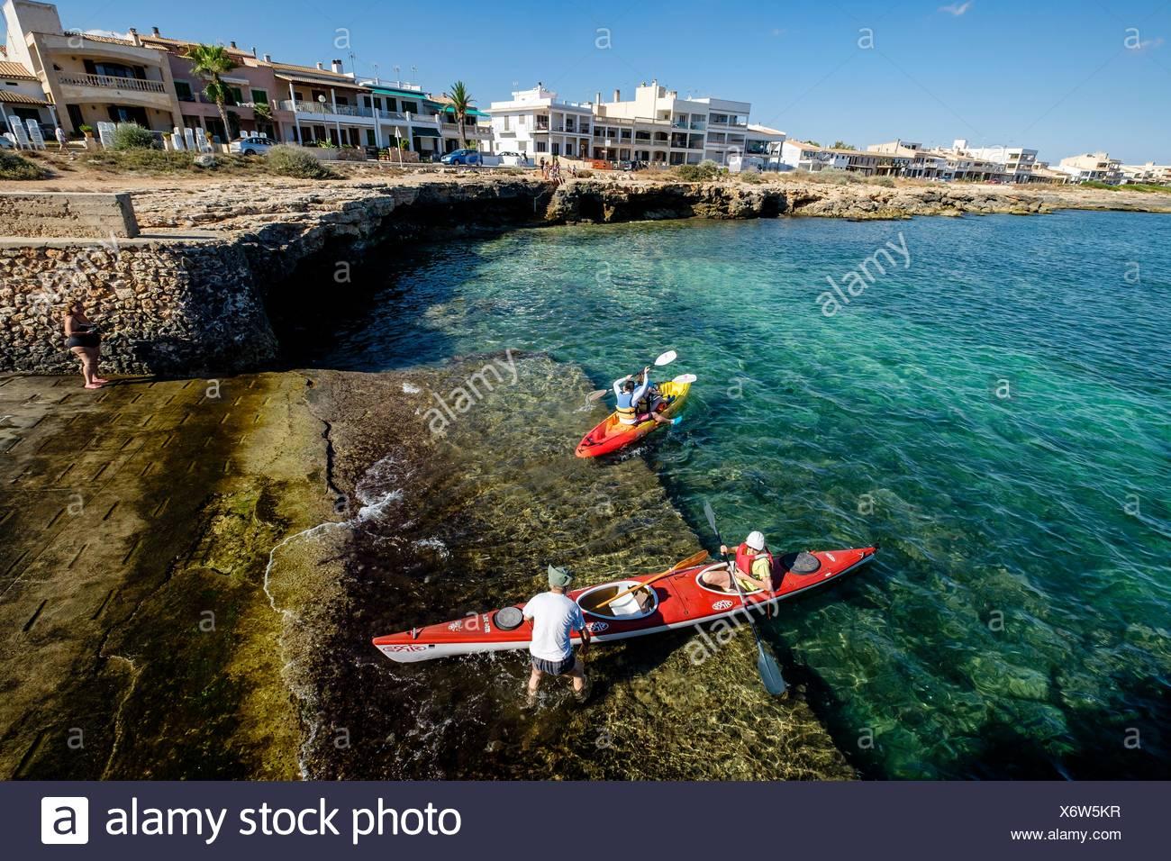 annual output of pirogues,festivities, Sa Rapita, Campos, Majorca, Balearic Islands, Spain - Stock Image