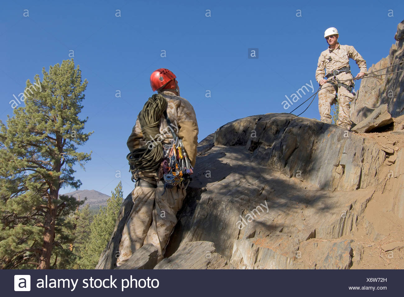 U.S. Marine Corps Mountain Leaders Train at the U.S. Marine Corps Mountain Warfare Training Center - Stock Image