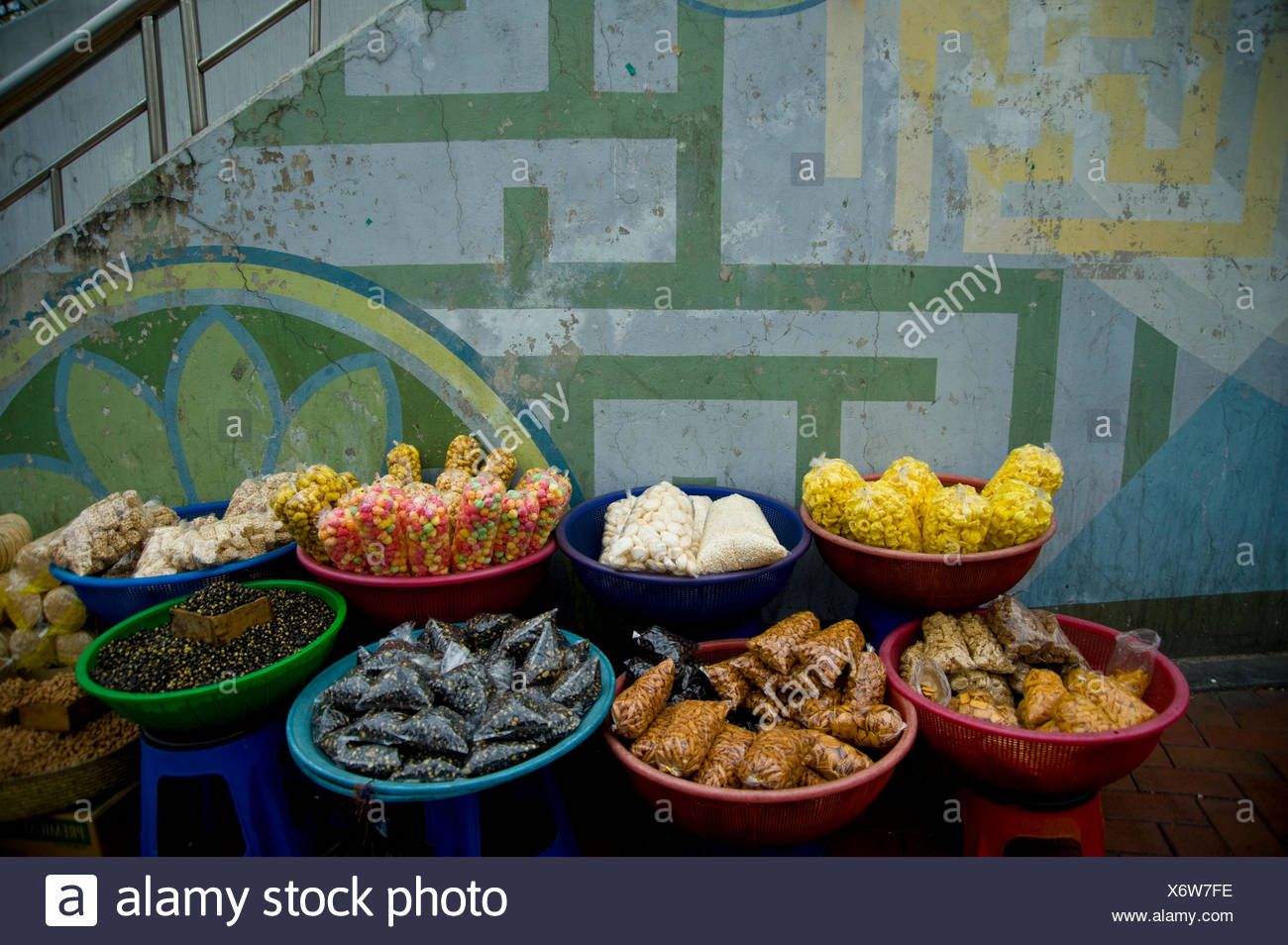 A buffet table is laid out with food for Buddha's birthday festival. - Stock Image