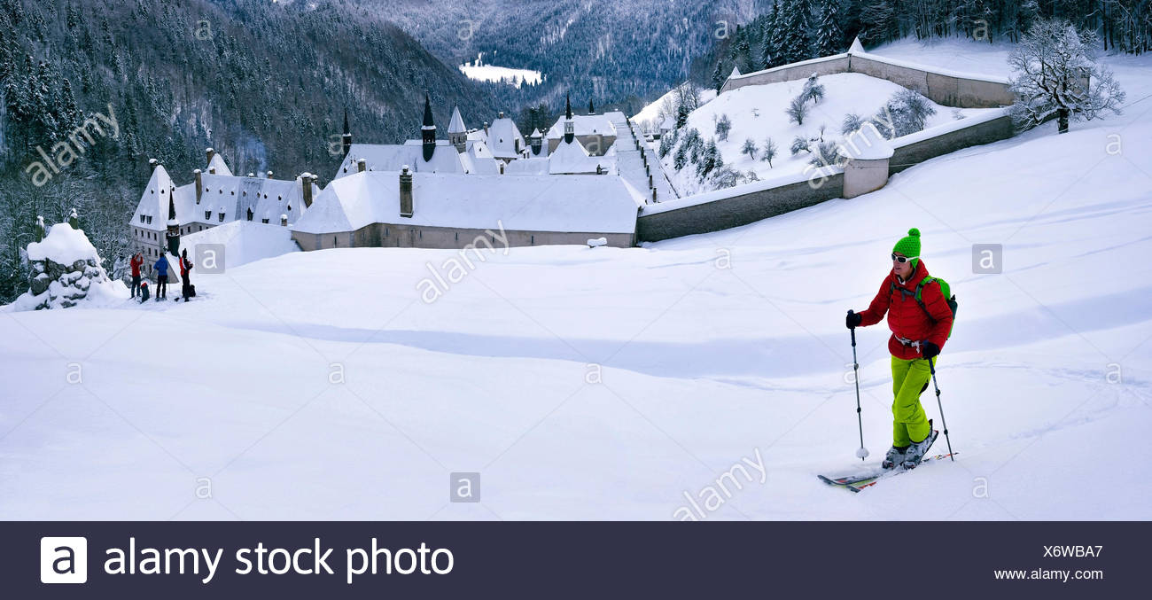 Ski touring over the monastry of the Grande Chartreuse, France, Isere, Chartreuse, Grenoble - Stock Image