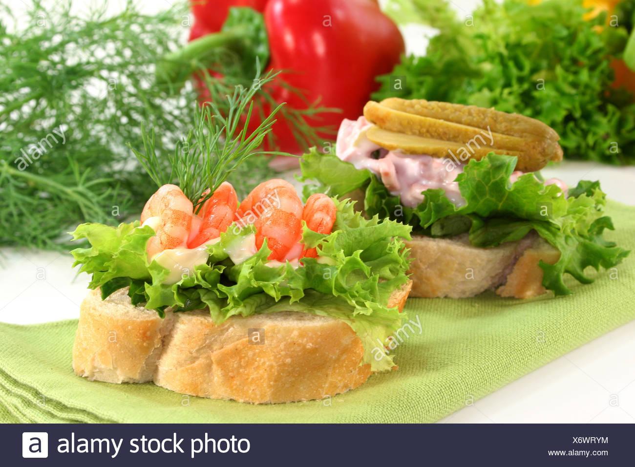 Starter Baguette Bit Meat Salad Decoration Shrimps Starter Sideboard