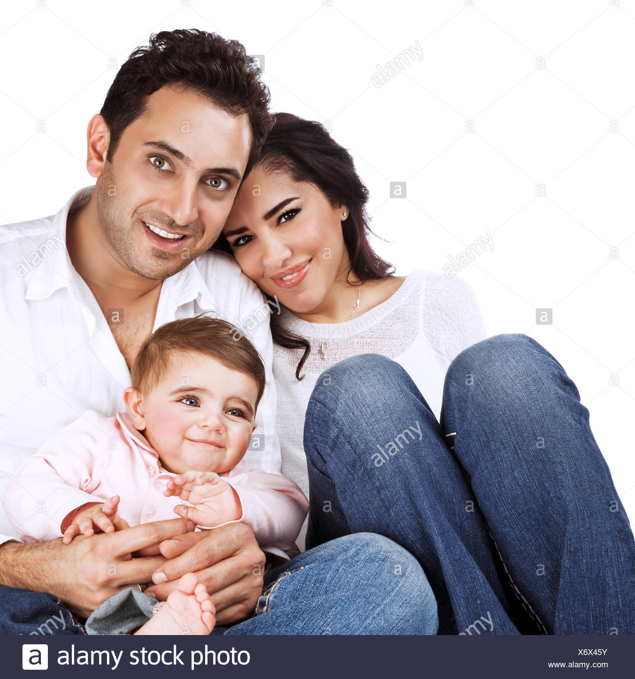 Happy family portrait isolated on white background baby girl with young beautiful parents healthy lifestyle love and happiness concept