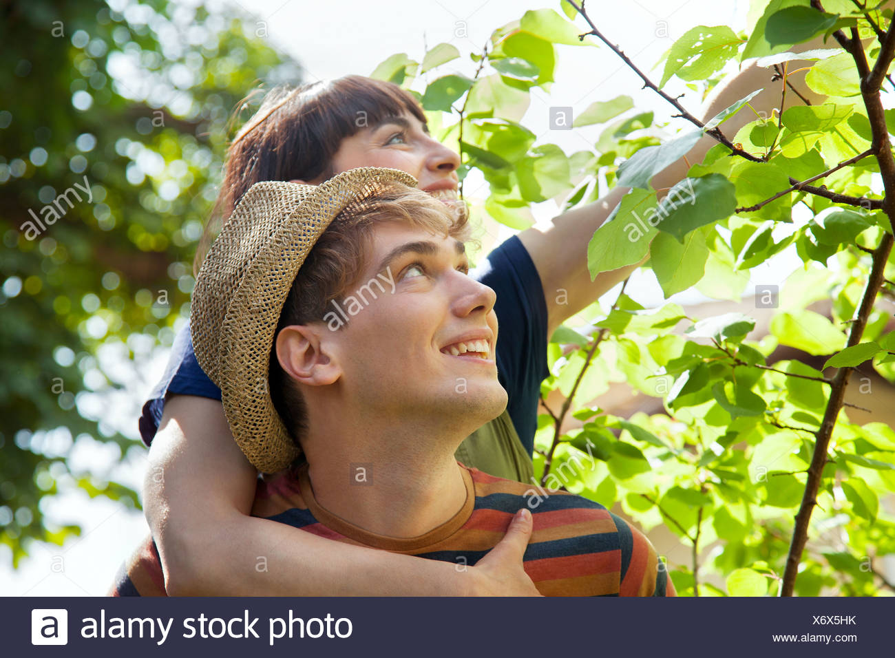 Woman with arm around man, touching leaves - Stock Image