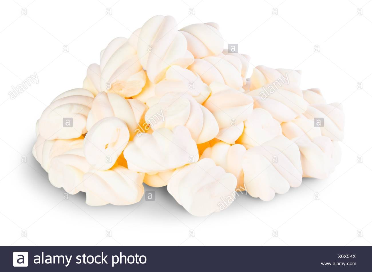 Pile The Spiral Marshmallows Isolated On White Background. Stock Photo