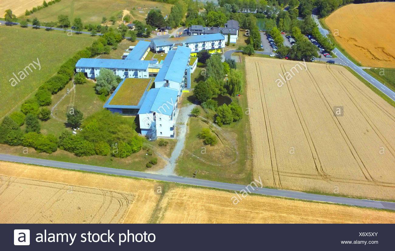 spa house Gesundheitszentrum An der Hoehle, air photo, 23.07.2015, aerial view , Germany, Baden-Wuerttemberg, Odenwald, Eberstadt - Stock Image