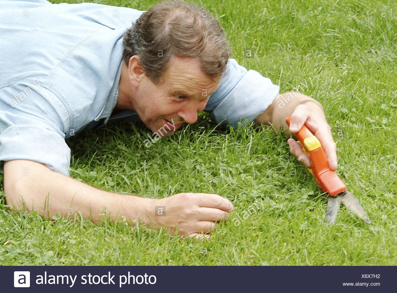 Turfs, man, lie, grass scissors, portrait, man's portrait, middle old person, 40-50 years, hobby, amateur gardener, gardener, garden, meadow, grass, blades grass, order, order-loving, order sense, excessively, pedant, Pedanterie, übergenau, exactly, accur - Stock Image
