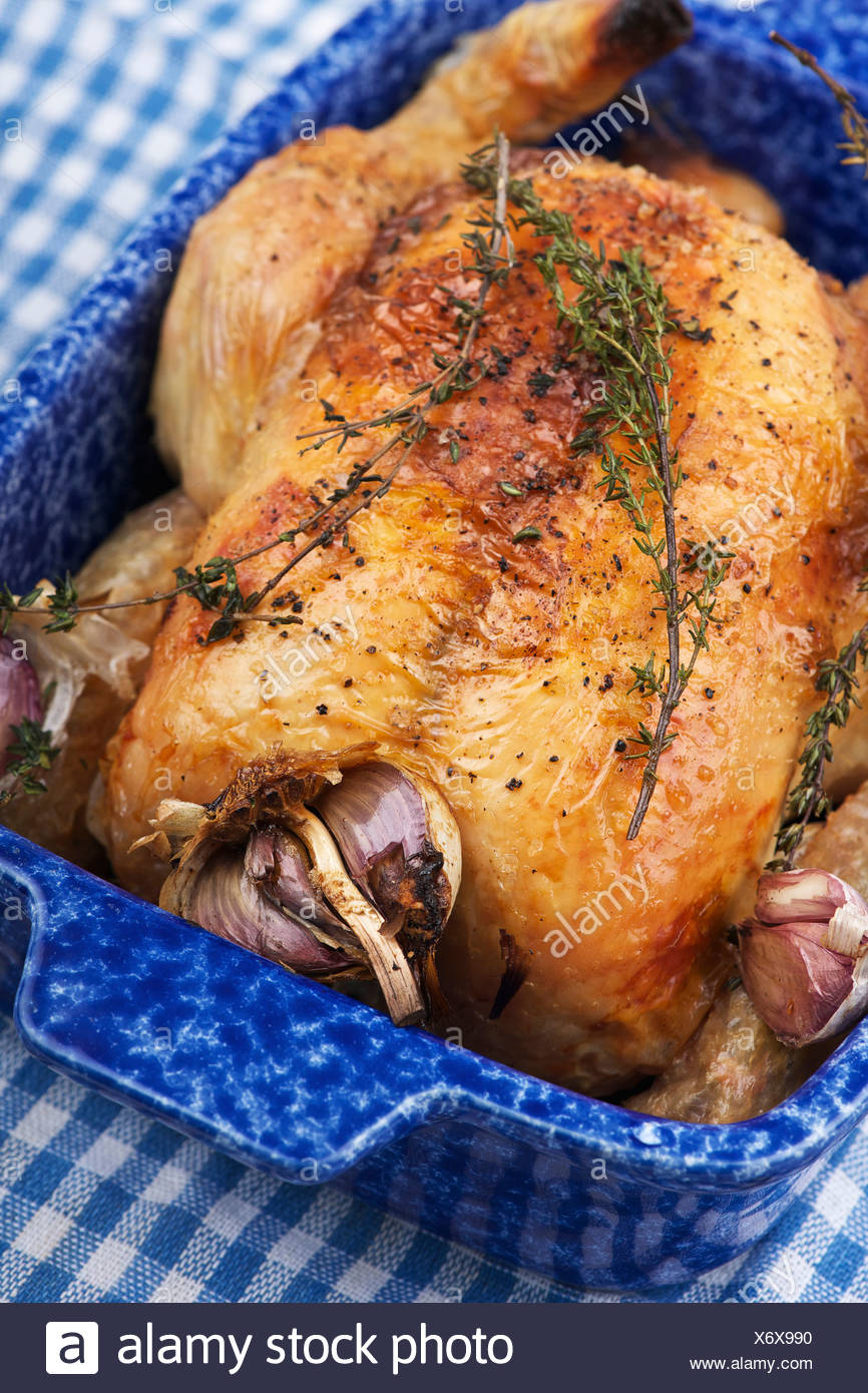 Dish of roast chicken with onions - Stock Image
