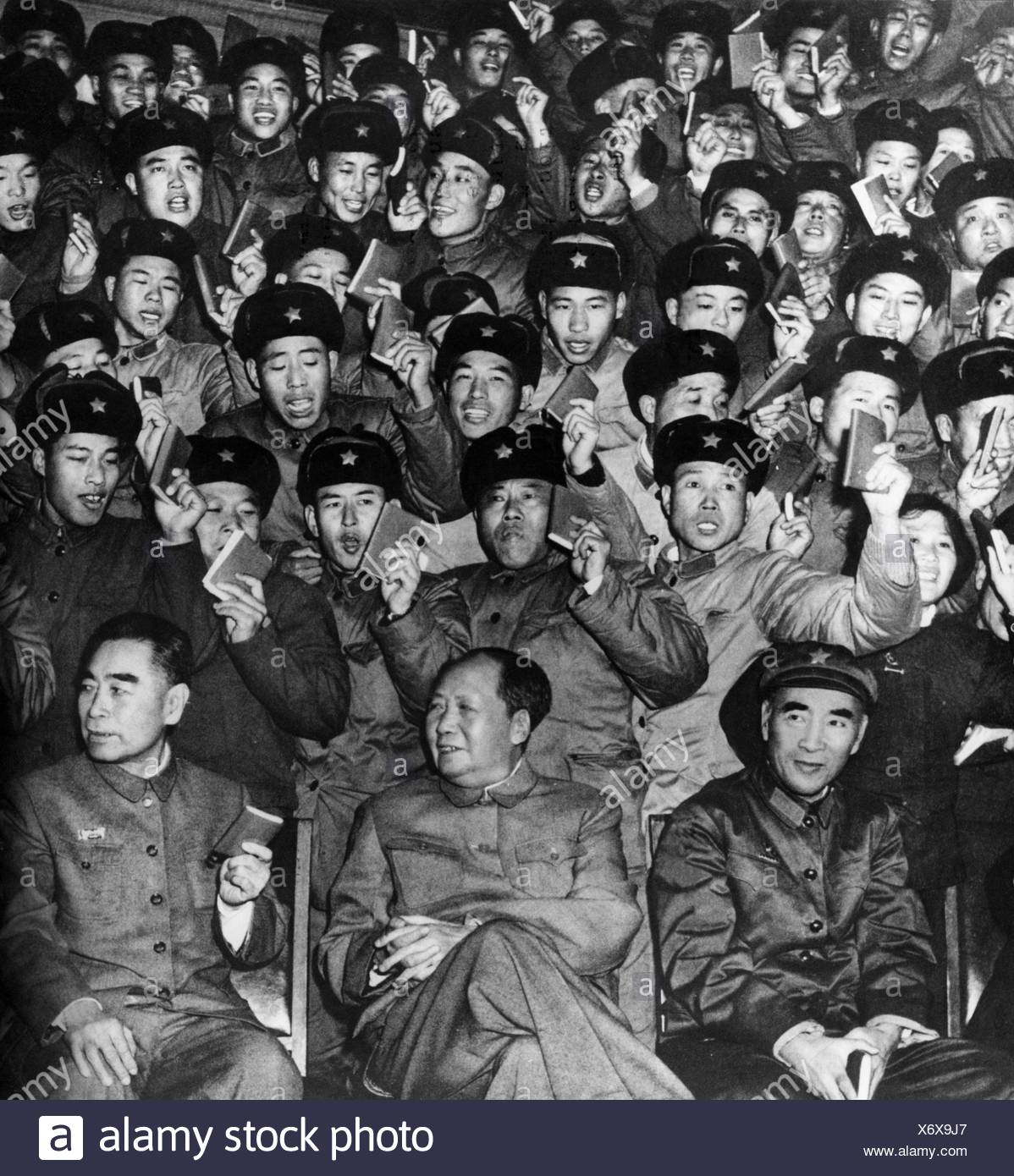 Mao Zedong, 26.12.1893 - 9.9.1976, Chinese politician, half length, with Lin Biao, Zhou Enlai, 1st congress of the activists, 3.12.1967, Additional-Rights-Clearances-NA - Stock Image
