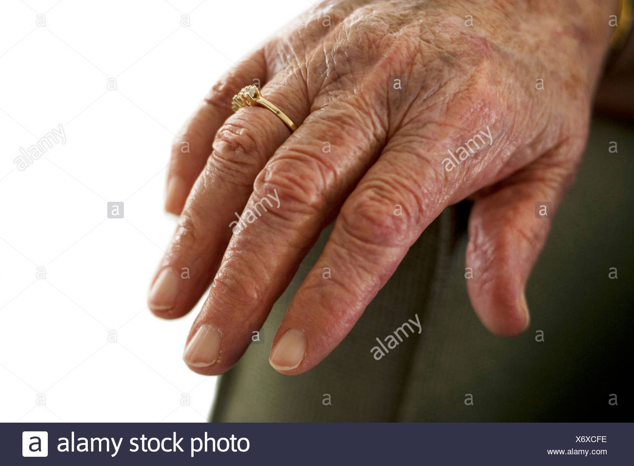 Closeup of mature female hand - Stock Image