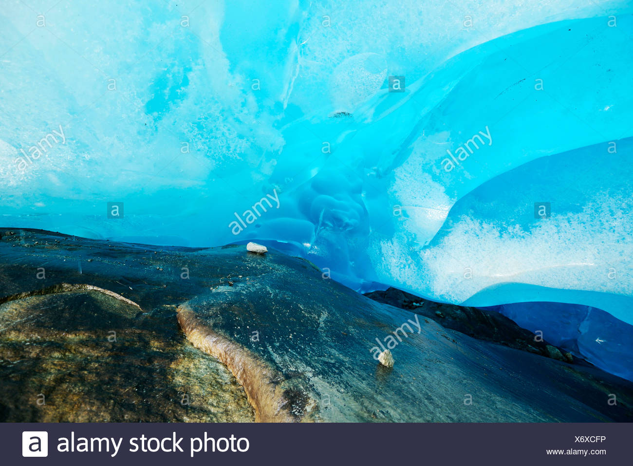 Ice formation on the Great Aletsch Glacier, Valais, Switzerland, Europe - Stock Image