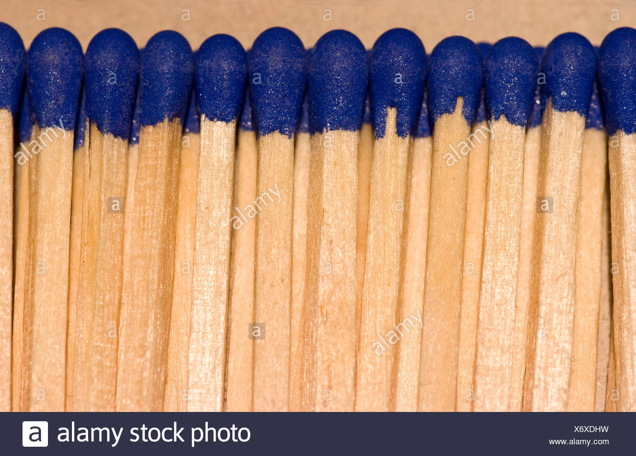 fire conflagration matches kindle inflammable blue macro close-up macro - Stock Image