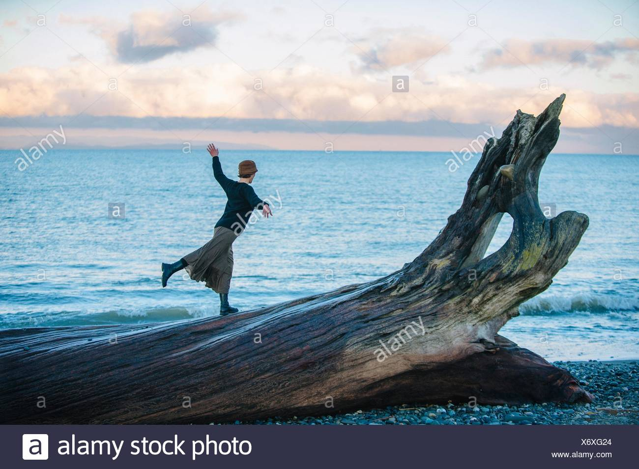 Woman standing on large driftwood tree trunk on beach Stock Photo
