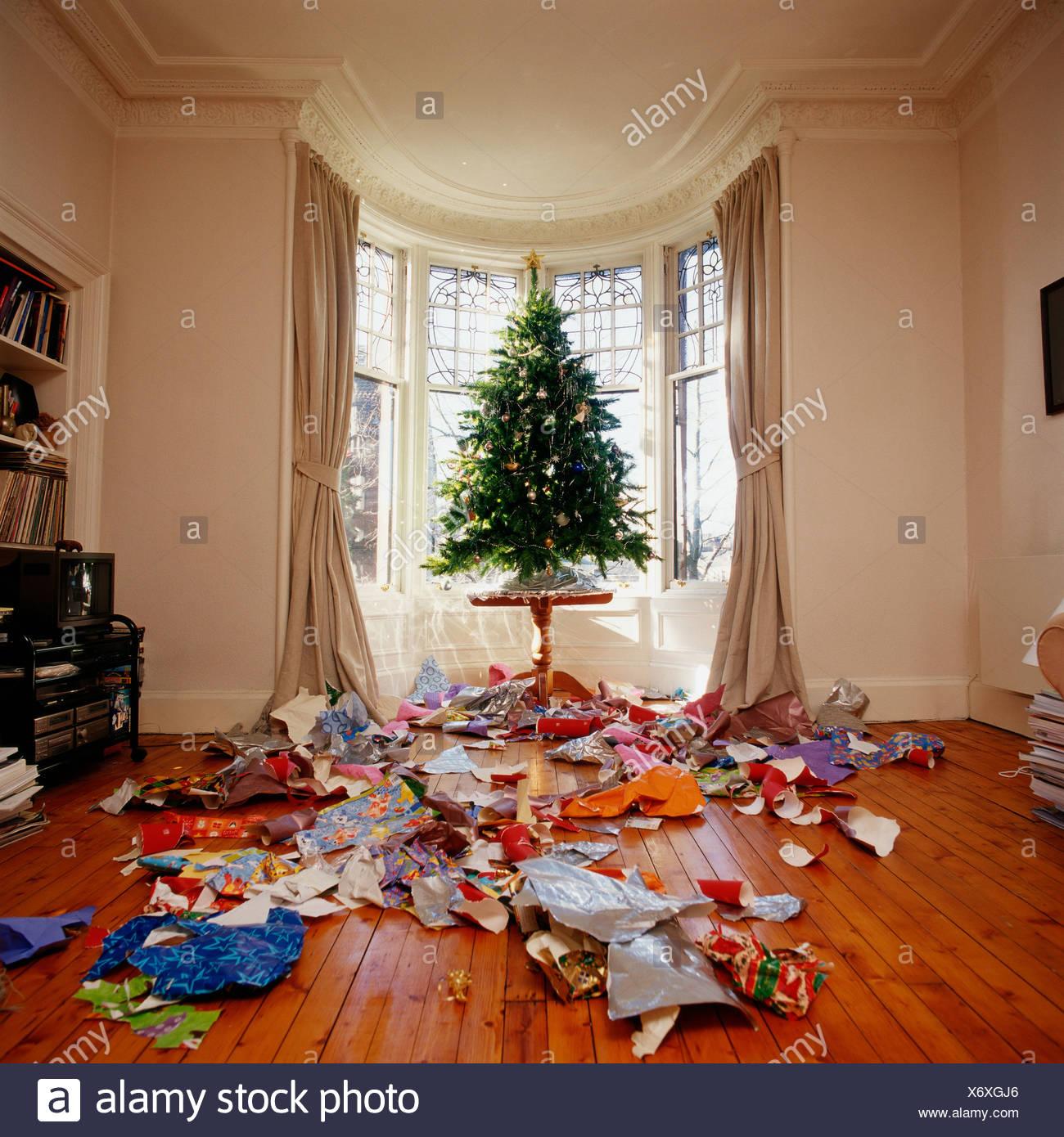 Messy Living Room: Messy Living Room At Christmas Stock Photo: 279637630