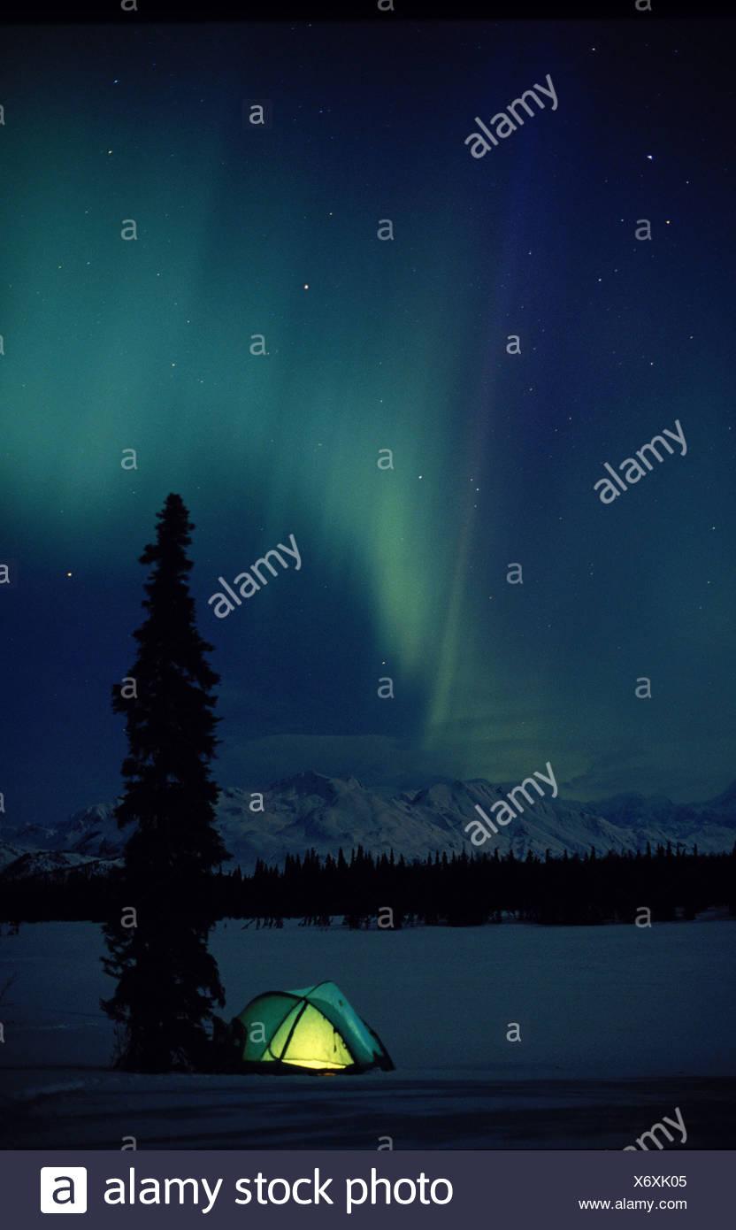 Northern Lights and Tent Tokosha Mtns Alaska Range - Stock Image