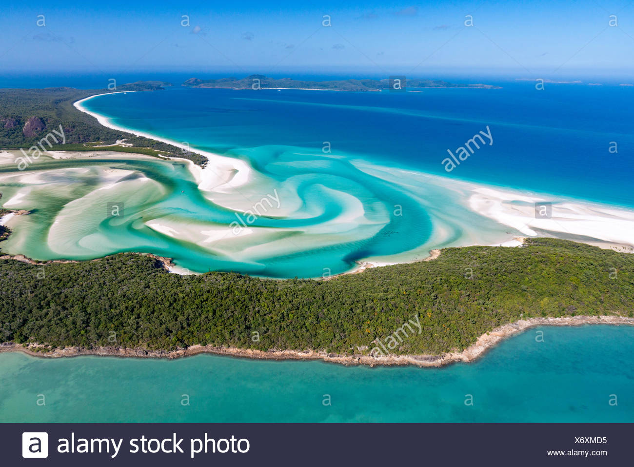 Whitehaven Beach and Hill Inlet river meanders, Whitsunday Islands, Queensland, Australia - Stock Image
