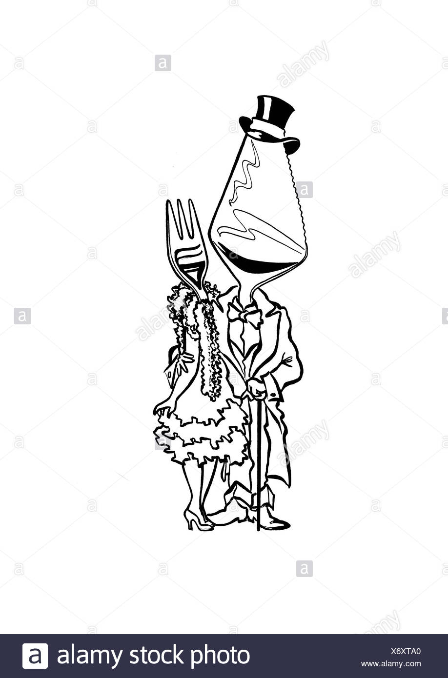 Knife and fork in festive evening dress - Stock Image