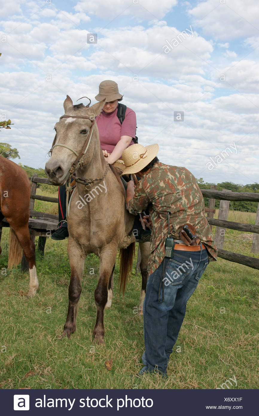 People, Horse, Pantanal, Mato Grosso do Sul, Brazil - Stock Image