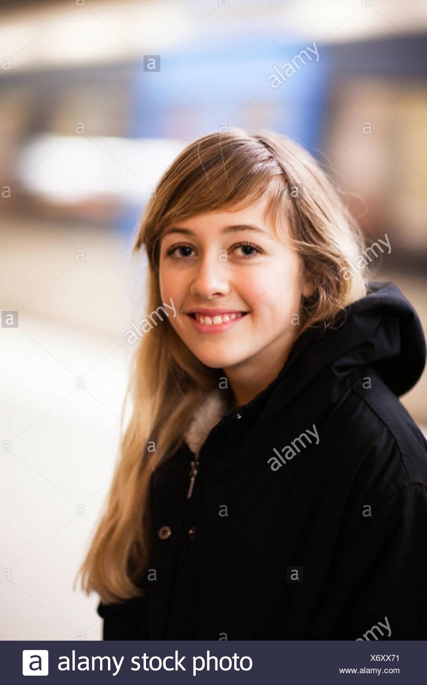 Teenage girl (14-15) portrait - Stock Image
