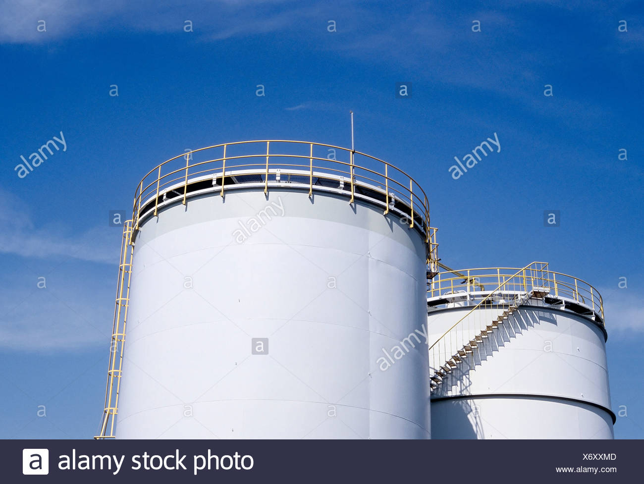 Two tanks containing hydrochloric acid, Chempark Krefeld-Uerdingen industrial park, formerly known as Bayer Industry Services - Stock Image