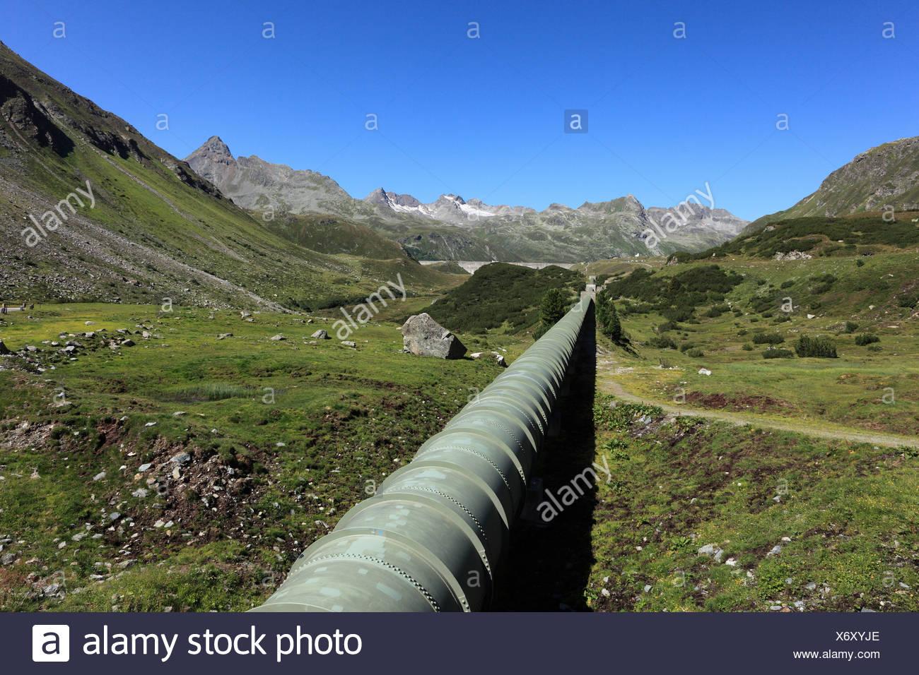 Dam and water pipeline from Lake Silvretta, Bielerhoehe, Grossvermunt, Montafon, Silvretta Group, Vorarlberg, Austria, Europe - Stock Image