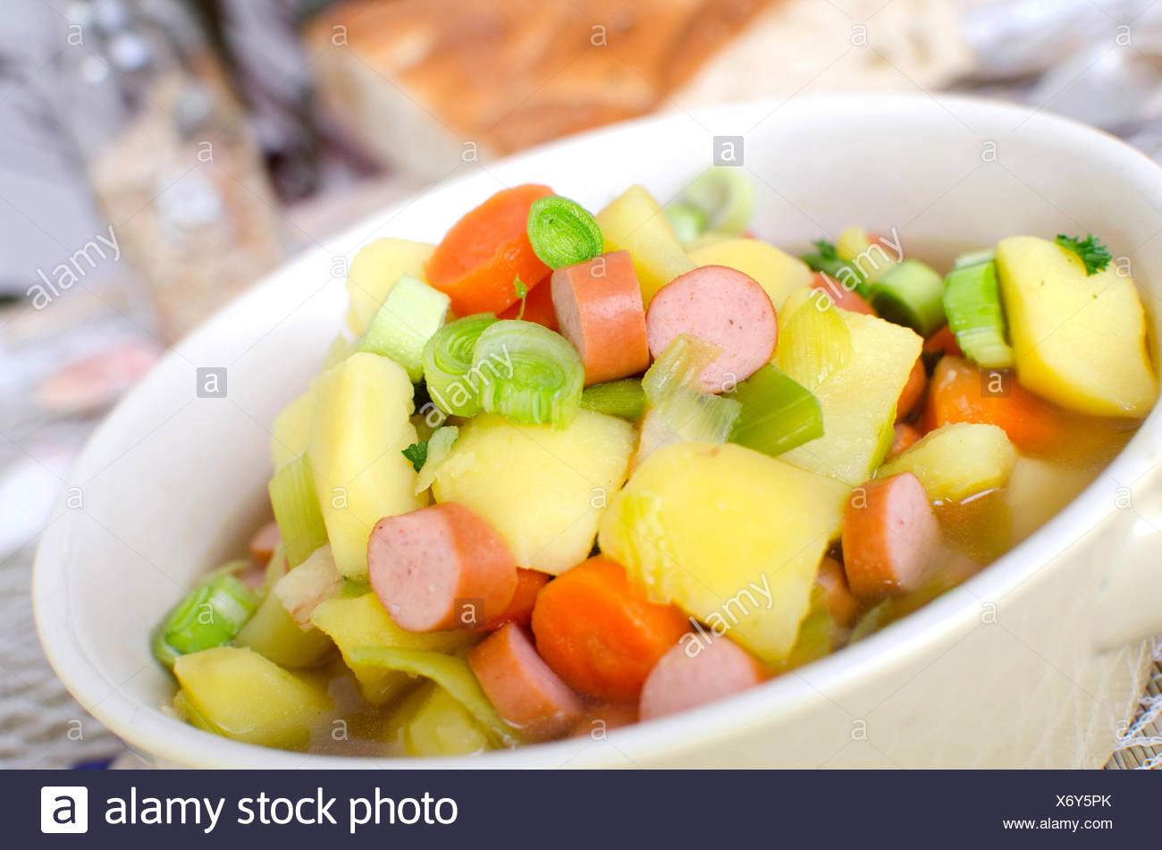 Potato soup with sausage - Stock Image