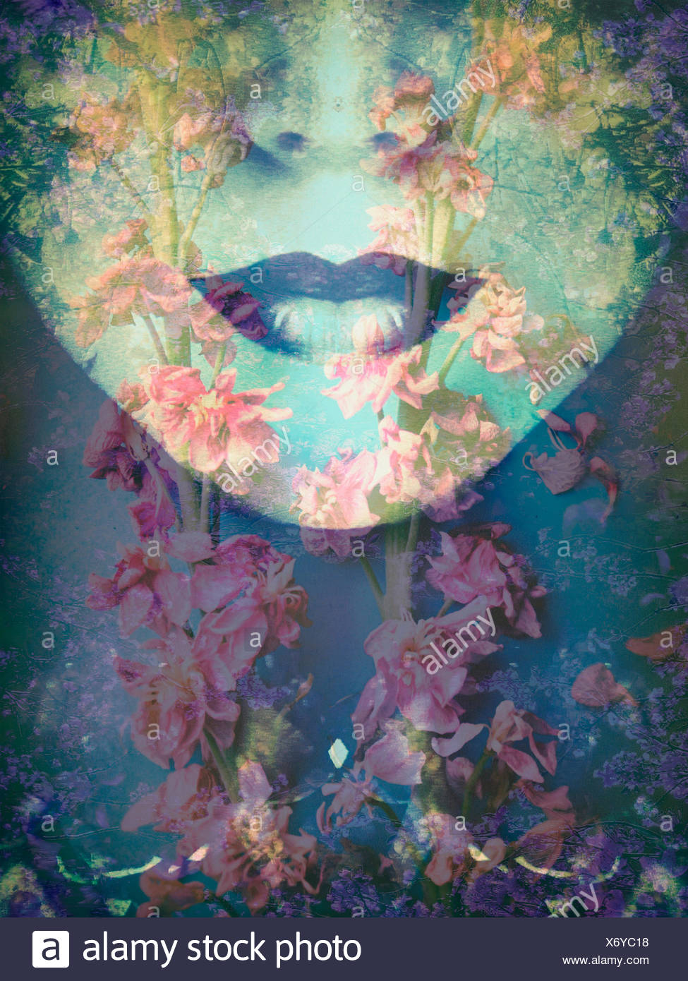 a montage of a portrait with floral elements Stock Photo