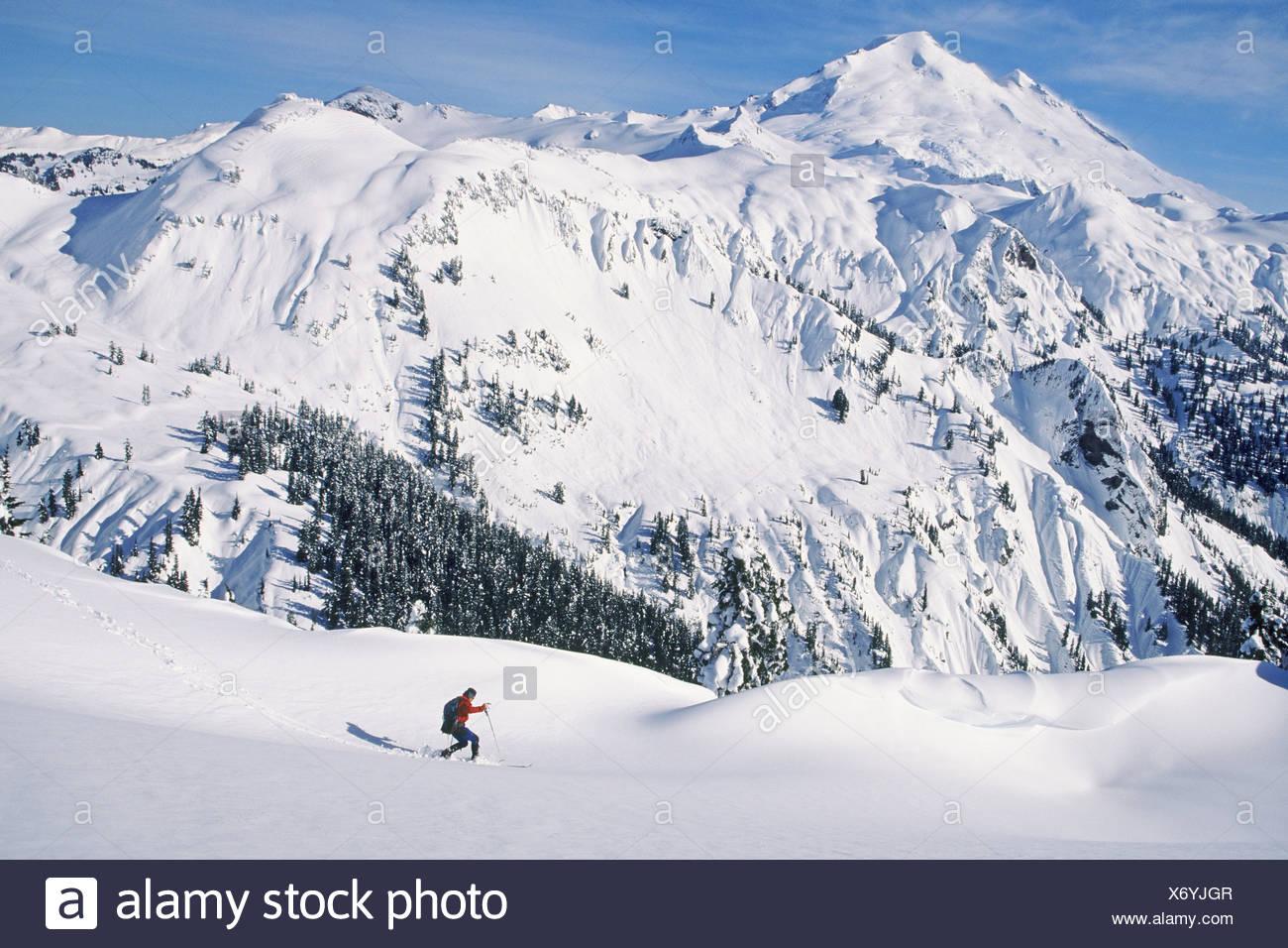 Man ski touring at artist's point - Stock Image