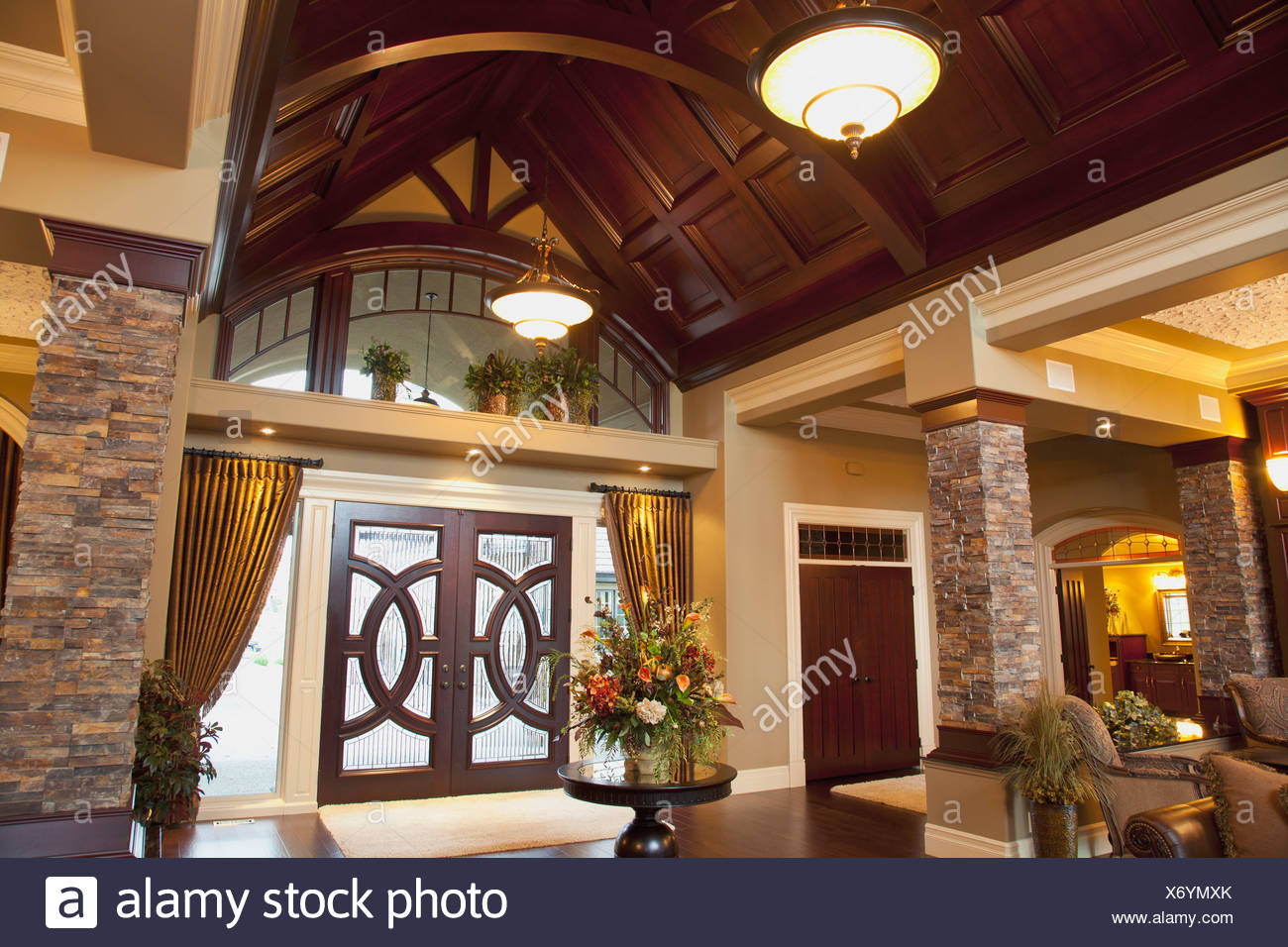 Front Entrance And Vaulted Ceiling In Luxurious Show Home